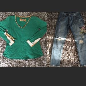 2 pieces set green top and floral blue jeans